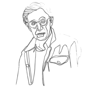 Illustration of Woody Allen: an example for an Enneagram Type 6 personality