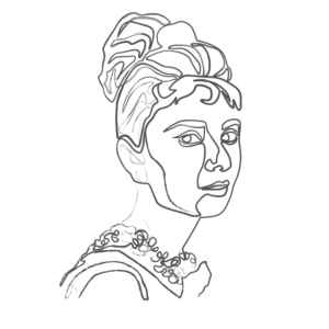Illustration of Audrey Hepburn: an example for an Enneagram Type 9 personality