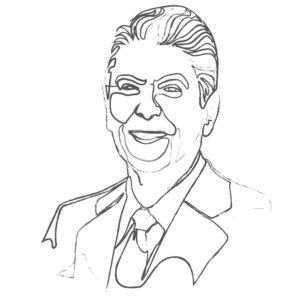 Illustration of Ronald Reagan: an example for an Enneagram Type 9 personality